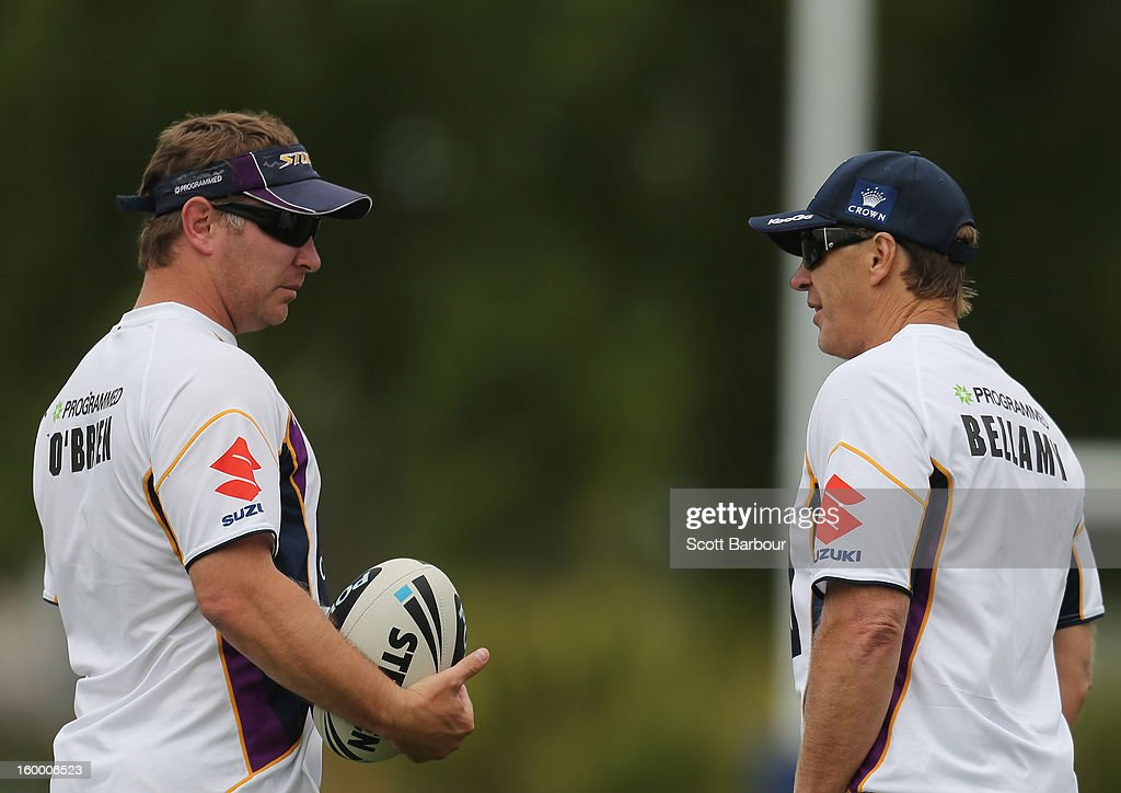 Adam O'Brien, Storm development coach and Craig Bellamy, coach of the Storm talk during a Melbourne Storm NRL training session at Gosch's Paddock on January 25, 2013 in Melbourne, Australia.
