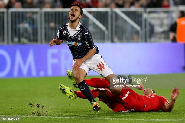 Adam Ounas of Bordeaux in action during the French Ligue 1 match between Bordeaux and Montpellier at Stade Matmut Atlantique on March 18 2017 in...