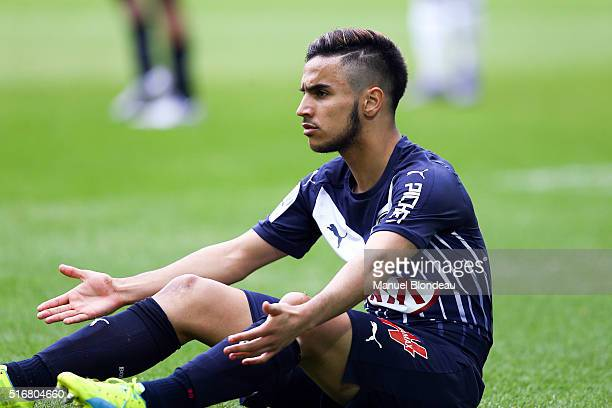 Adam Ounas of Bordeaux reacts after being tackled during the French Ligue 1 match between FC Girondins de Bordeaux v SC Bastia at Nouveau Stade de...