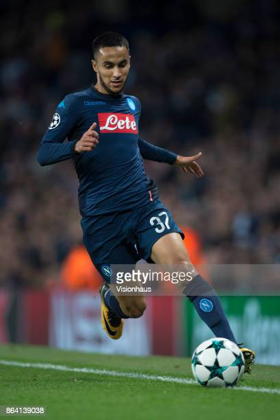 Adam Ounas of Napoli in action during the UEFA Champions League group F match between Manchester City and SSC Napoli at Etihad Stadium on October 17...