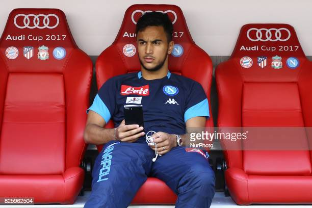 Adam Ounas of Napoli injured on the bench during the Audi Cup 2017 match between SSC Napoli and FC Bayern Muenchen at Allianz Arena on August 2 2017...