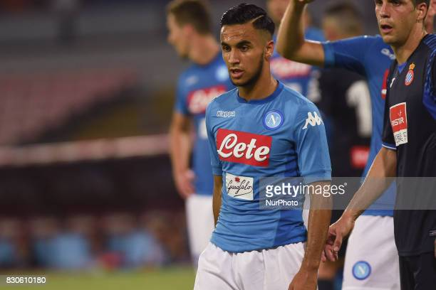 Adam Ounas of SSC Napoli during the Preseason Frendly match between SSC Napoli and RCD Espanyol at Stadio San Paolo Naples Italy on 10 August 2017