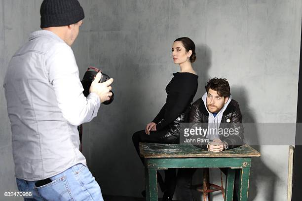 Adam Pally and Zoe Lister Jones are seen at The Hollywood Reporter 2017 Sundance Studio At Sky Strada Day 3 2017 Park City on January 22 2017 in Park...