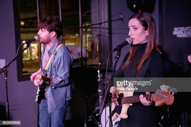 Adam Pally and Zoe ListerJones perform at the 2017 Sundance Film Festival premiere of BandAid hosted at PepsiCos Creators League Studio on January 24...