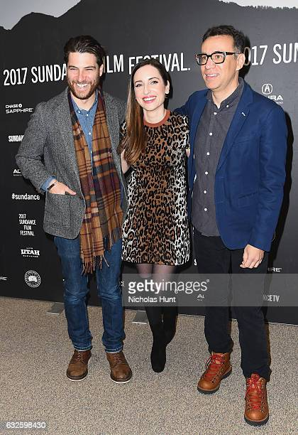Adam Pally director Zoe ListerJones and Fred Armisen attend the 'Band Aid' Premiere at Eccles Center Theatre on January 24 2017 in Park City Utah