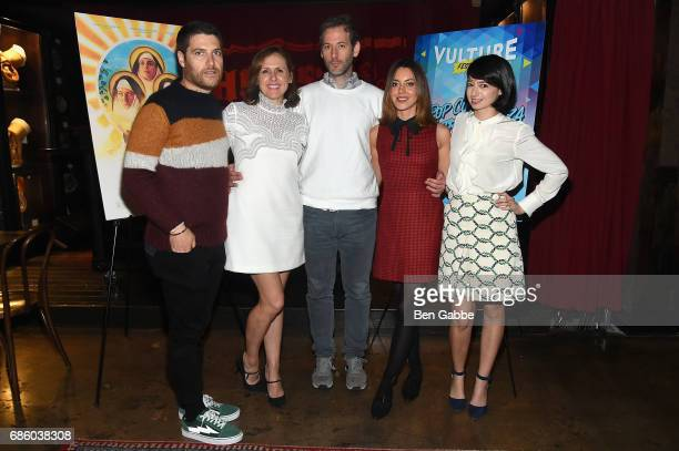 Adam Pally Molly Shannon director Jeff Baena Aubrey Plaza and Kate Micucci attend the 'The Little Hours' Screening at the Alamo Drafthouse Theate on...