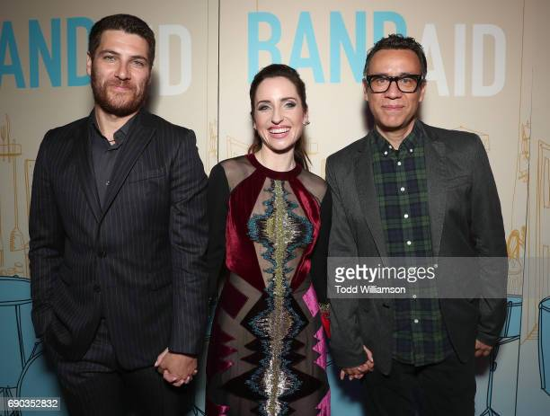Adam Pally Zoe ListerJones and Fred Armisen attend the premiere of IFC Films' 'Band Aid' at The Theatre at Ace Hotel on May 30 2017 in Los Angeles...