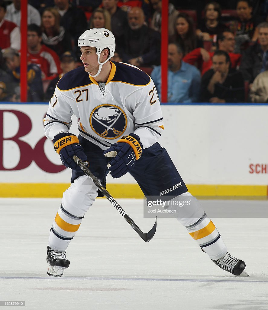 Adam Pardy #27 of the Buffalo Sabres skates through center ice against the Florida Panthers at the BB&T Center on February 28, 2013 in Sunrise, Florida.