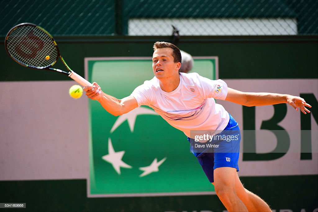 Adam Pavlasek during the Men's Singles second round on day four of the French Open 2016 at Roland Garros on May 25, 2016 in Paris, France.