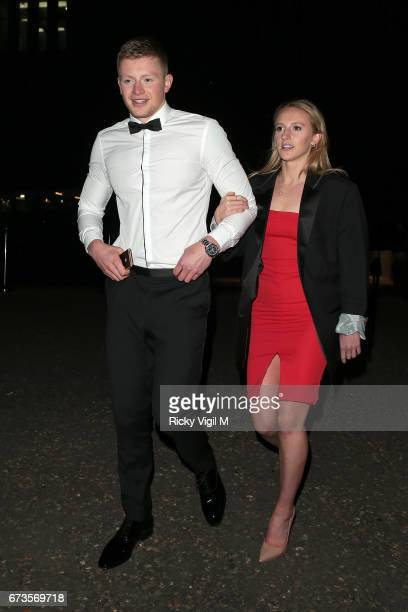 Adam Peaty and Anna Zair attend Lost In Space anniversary party at Tate Modern to mark the 60th anniversary of Speedmaster on April 26 2017 in London...