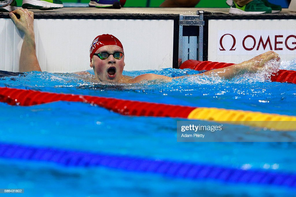 Adam Peaty of Great Britain celebrates winning heat six in a new world record time in the Men's 100m Breaststroke on Day 1 of the Rio 2016 Olympic Games at the Olympic Aquatics Stadium on on August 6, 2016 in Rio de Janeiro, Brazil.