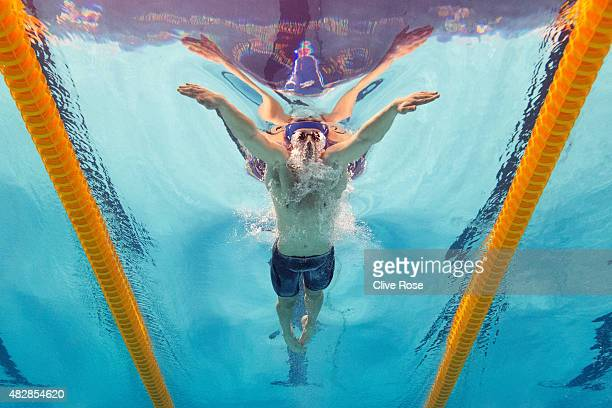 Adam Peaty of Great Britain competes in the Men's 100m Breaststroke Final on day ten of the 16th FINA World Championships at the Kazan Arena on...