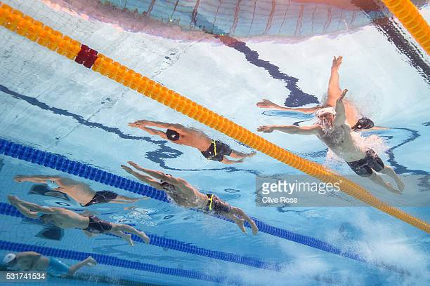 Adam Peaty of Great Britain competes in the Men's 100m semi final on day eight of the 33rd LEN European Swimming Championships 2016 at the London...