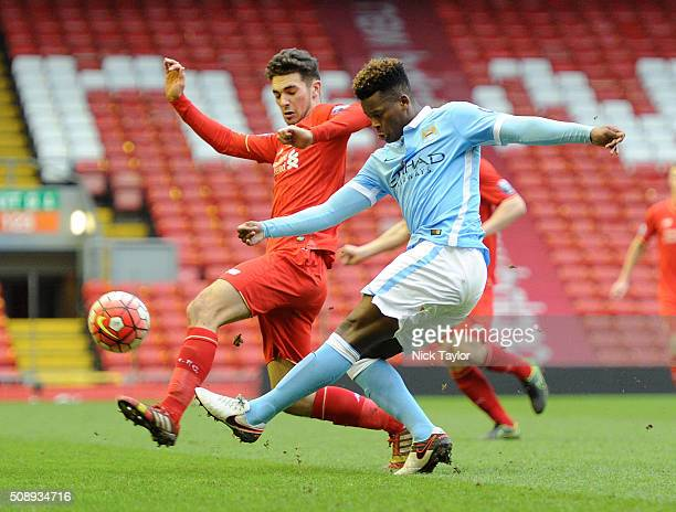 Adam Phillips of Liverpool and Ashley SmithBrown of Manchester City in action during the Liverpool v Manchester City Barclays U21 Premier League game...