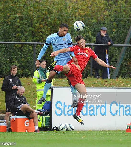 Adam Phillips of Liverpool and Cameron Humphries of Manchester City in action during the Barclays Premier League Under 18 fixture between Liverpool...
