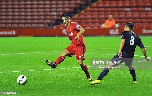 Adam Phillips of Liverpool and Jake Flannigan of Southampton in action during the Barclays Premier League Under 21 fixture between Liverpool and...