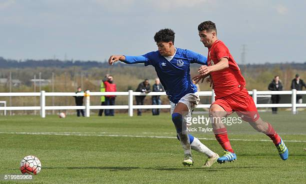 Adam Phillips of Liverpool and Josef Yarney of Everton in action during the Everton v Liverpool U18 Premier League game at Finch Farm on April 9 2016...