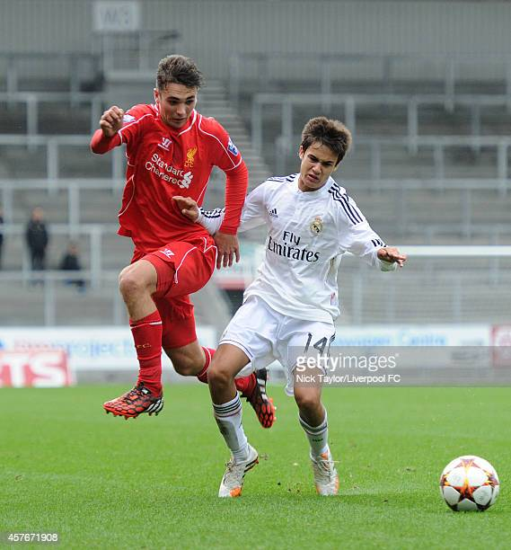 Adam Phillips of Liverpool and Sergio Reguilon of Real Madrid in action during the UEFA Youth Champions League fixture between Liverpool and Real...