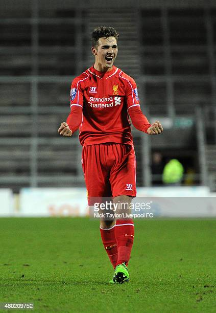 Adam Phillips of Liverpool celebrates at the final whistle during the UEFA Youth League fixture between Liverpool and FC Basel at Langtree Park on...