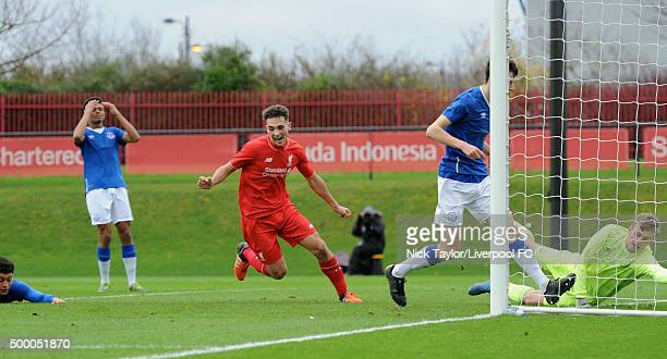 Adam Phillips of Liverpool celebrates his goal during the Liverpool v Everton U18 Premier League game at the Liverpool FC Academy on December 5 2015...