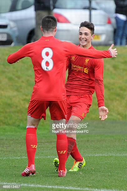 Adam Phillips of Liverpool celebrates his goal with Alex O'Hanlon who supplied the assist during the Barclays Premier League Under 18 fixture between...