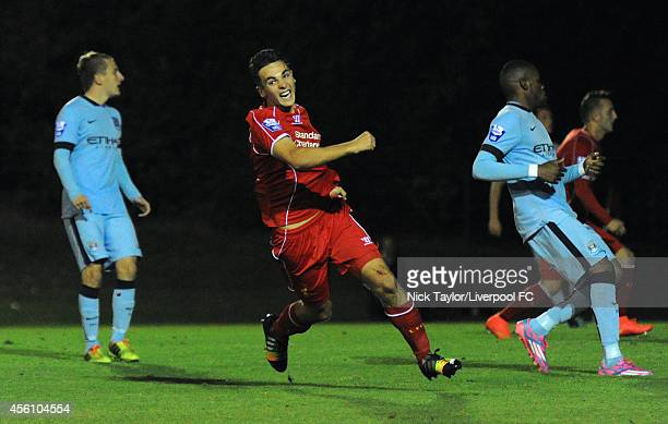 Adam Phillips of Liverpool celebrates scoring his first goal of the game during the Barclays Premier League Under 21 fixture between Liverpool and...