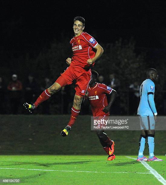 Adam Phillips of Liverpool celebrates scoring his second goal of the game during the Barclays Premier League Under 21 fixture between Liverpool and...