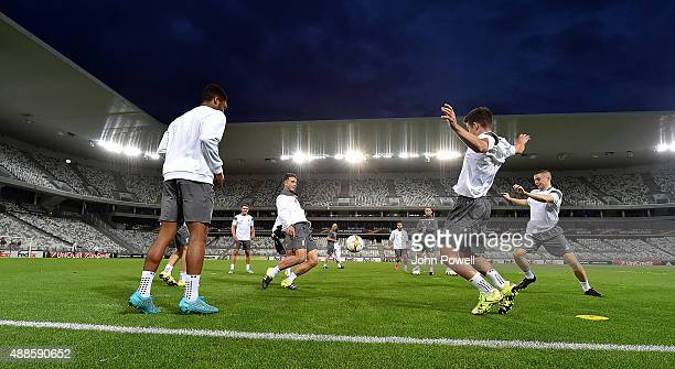 Adam Phillips of Liverpool in action during a training session at Nouveau Stade Bordeaux on September 16 2015 in Bordeaux France