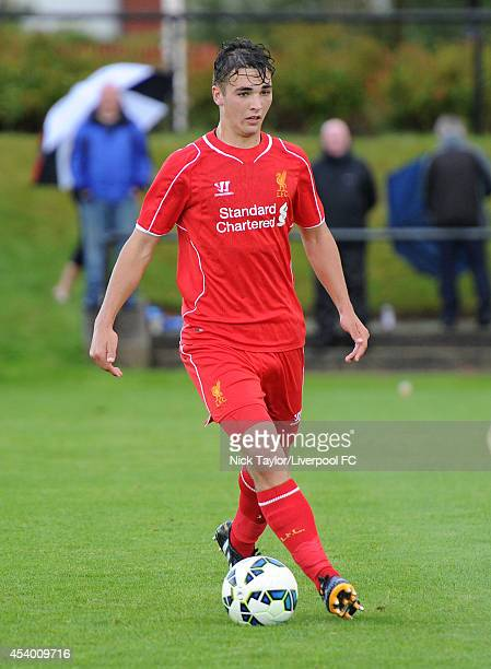 Adam Phillips of Liverpool in action during the Barclays Premier League Under 18 fixture between Liverpool and Derby County at the Liverpool FC...