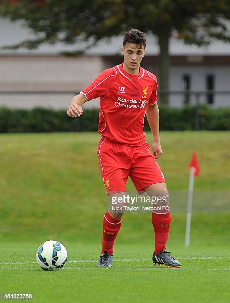 Adam Phillips of Liverpool in action during the Barclays Premier League Under 18 fixture between Liverpool and Manchester United at the Liverpool FC...