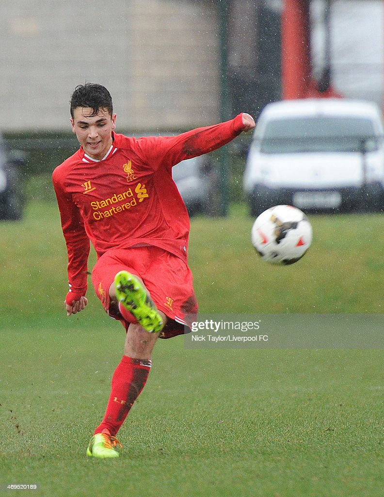 Adam Phillips of Liverpool in action during the Barclays Premier League Under 18 fixture between Liverpool and Sunderland at the Liverpool FC Academy on February 15 in Kirkby, England.