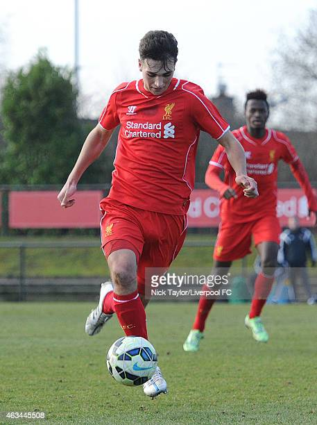 Adam Phillips of Liverpool in action during the Barclays U18 Premier League match between Liverpool and Sunderland at the Kirkby Academy on February...