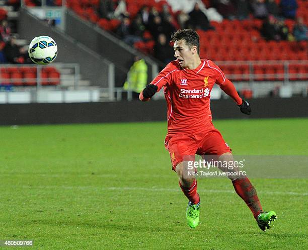 Adam Phillips of Liverpool in action during the FA Youth Cup 3rd Round fixture between Liverpool and Bradford City at Langtree Park on December 15...