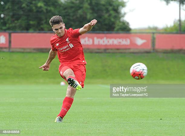 Adam Phillips of Liverpool in action during the Liverpool v Middlesbrough U18 Premier League game at the Liverpool FC Academy on August 22 2015 in...