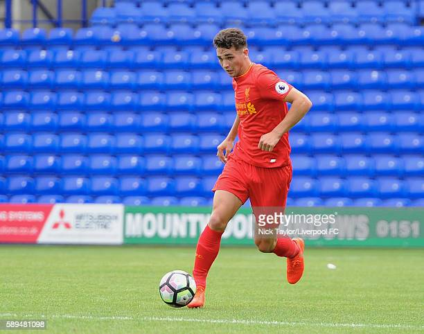 Adam Phillips of Liverpool in action during the Liverpool v Southampton U23 game at Prenton Park on August 14 2016 in Birkenhead England