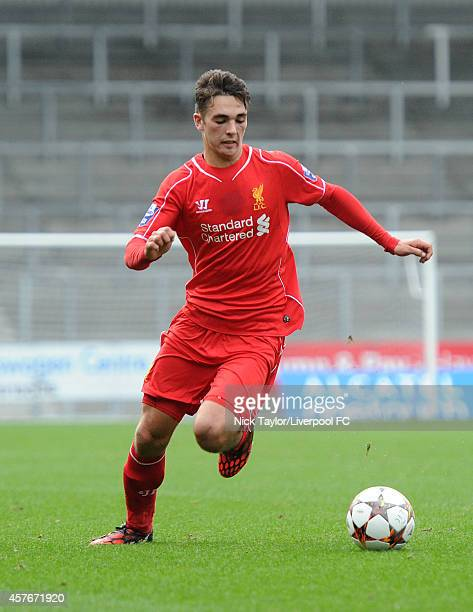 Adam Phillips of Liverpool in action during the UEFA Youth Champions League fixture between Liverpool and Real Madrid at Langtree Park on October 22...