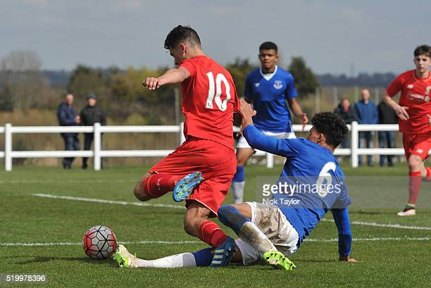 Adam Phillips of Liverpool is fouled inside the penalty area by Josef Yarney of Everton during the Everton v Liverpool U18 Premier League game at...