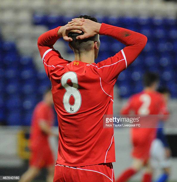 Adam Phillips of Liverpool rues a missed opportunity during the FA Youth Cup 5th Round match between Liverpool and Birmingham City at The Swansway...