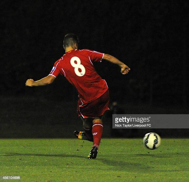 Adam Phillips of Liverpool scoring his second goal of the game during the Barclays Premier League Under 21 fixture between Liverpool and Manchester...
