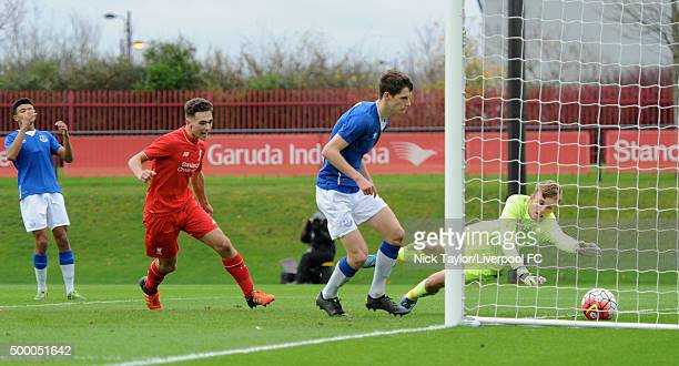 Adam Phillips of Liverpool watches his shot cross the line during the Liverpool v Everton U18 Premier League game at the Liverpool FC Academy on...