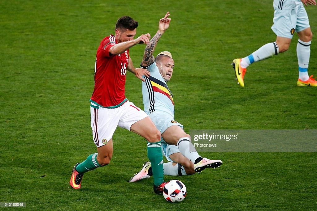 Adam Pinter defender of Hungary and Radja Nainggolan midfielder of Belgium during the UEFA EURO 2016 Round of 16 match between Hungary and Belgium at the Stadium Toulouse on June 26, 2016 in Toulouse, France ,