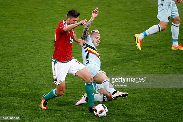 Adam Pinter defender of Hungary and Radja Nainggolan midfielder of Belgium during the UEFA EURO 2016 Round of 16 match between Hungary and Belgium at...