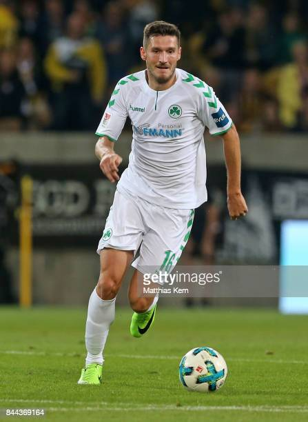 Adam Pinter of Fuerth runs with the ball during the Second Bundesliga match between SG Dynamo Dresden and SpVgg Greuther Fuerth at DDVStadion on...