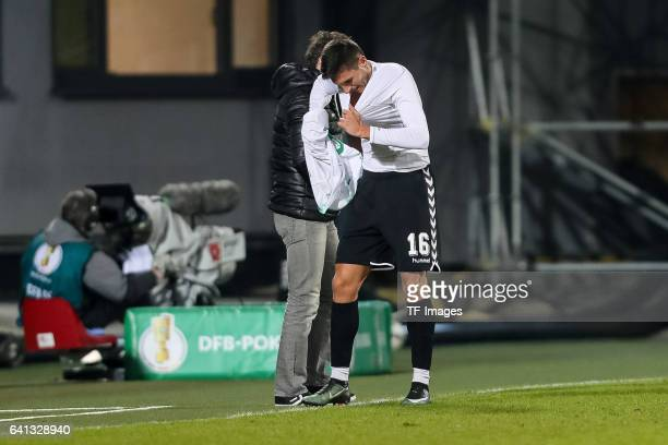 Adam Pinter of Greuther Fuerth looks on during the DFB Cup match between SpVgg Greuther Fuerth and Borussia Moenchengladbach at Sportpark Ronhof...