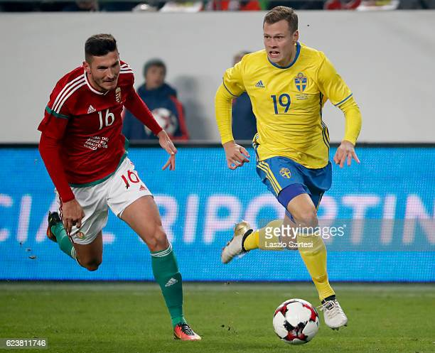 Adam Pinter of Hungary competes for the ball with Viktor Claesson of Sweden during the International Friendly match between Hungary and Sweden at...