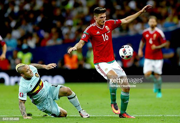 Adam Pinter of Hungary controls the ball under pressure of Radja Nainggolan of Belgium during the UEFA EURO 2016 round of 16 match between Hungary...