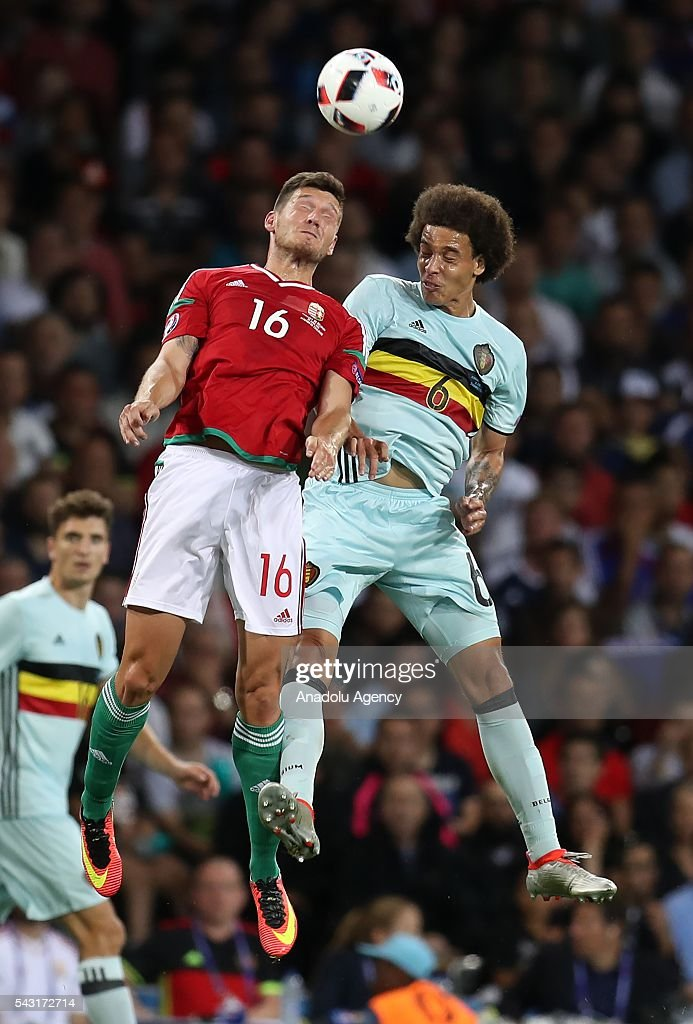 Adam Pinter (16) of Hungary in action against Axel Witsel (6) of Belgium during the UEFA Euro 2016 round of 16 football match between Hungary and Belgium at Stadium Municipal in Toulouse, France on June 26, 2016.
