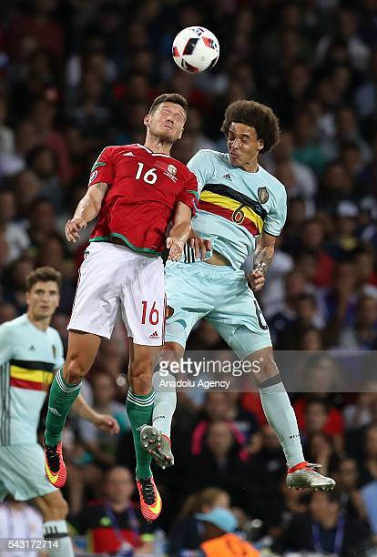 Adam Pinter of Hungary in action against Axel Witsel of Belgium during the UEFA Euro 2016 round of 16 football match between Hungary and Belgium at...