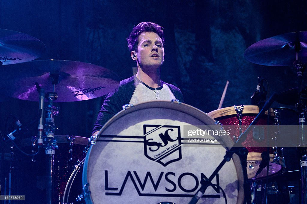<a gi-track='captionPersonalityLinkClicked' href=/galleries/search?phrase=Adam+Pitts&family=editorial&specificpeople=7078662 ng-click='$event.stopPropagation()'>Adam Pitts</a> of Lawson perform on stage at O2 Academy on February 26, 2013 in Leeds, England.