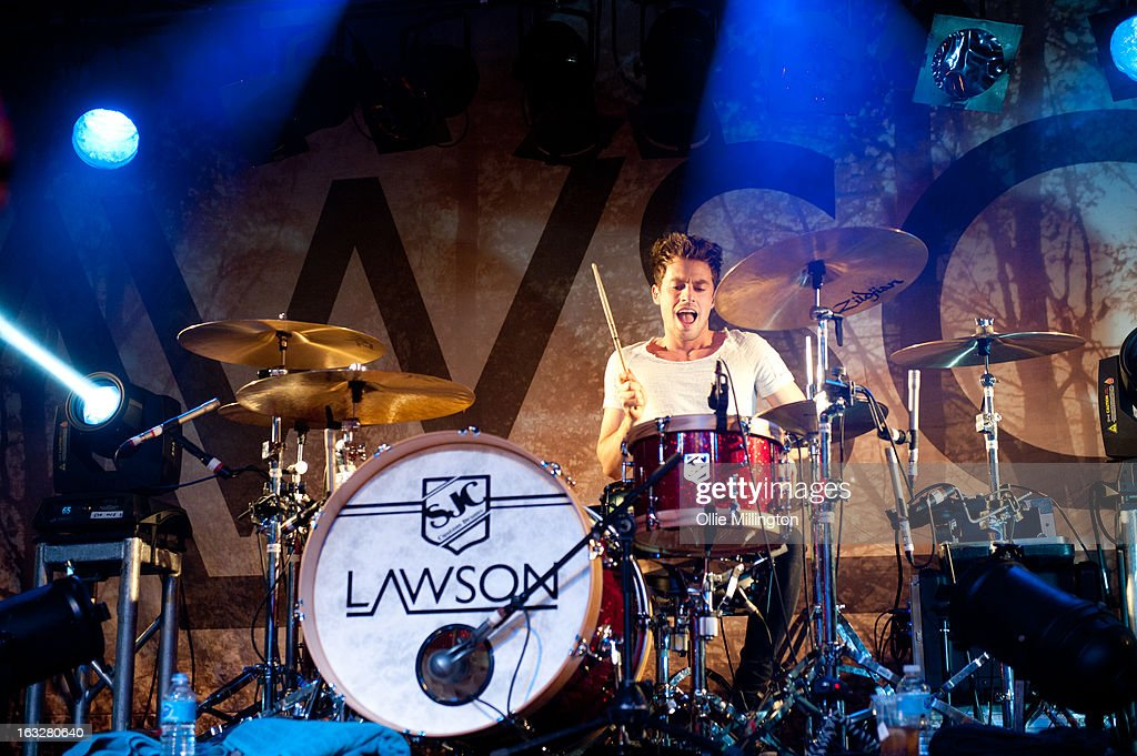 <a gi-track='captionPersonalityLinkClicked' href=/galleries/search?phrase=Adam+Pitts&family=editorial&specificpeople=7078662 ng-click='$event.stopPropagation()'>Adam Pitts</a> of Lawson performs during a sold out show on their Chapman Square Tour at Rock City on March 6, 2013 in Nottingham, England.